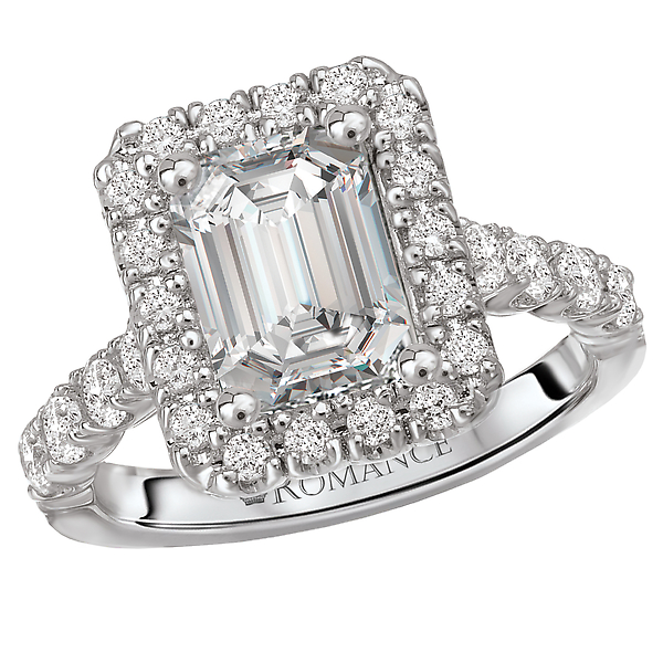 Diamond Semi Mount Ring.  Designed with Emerald Style Halo.  7/8 carat total diamond weight.