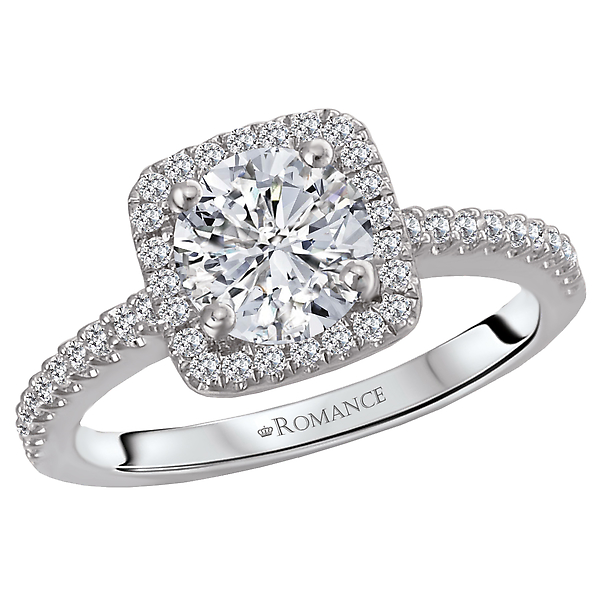 Diamond Semi Mount Ring.  Set in 18 kt White Gold with a Square Halo.  .25 ct. tdwt.