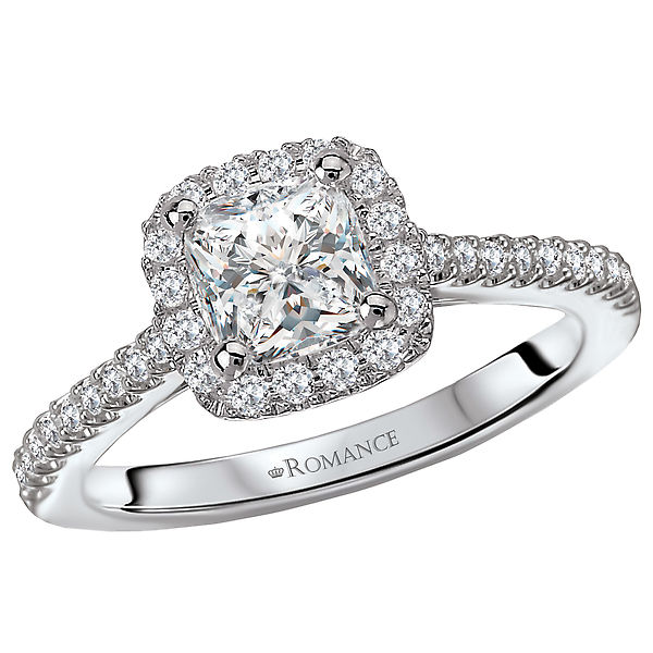 Diamond Semi Mount Engagement Ring. Square Diamond Halo. Set in 18 kt White Gold. .25 ct tdwt.