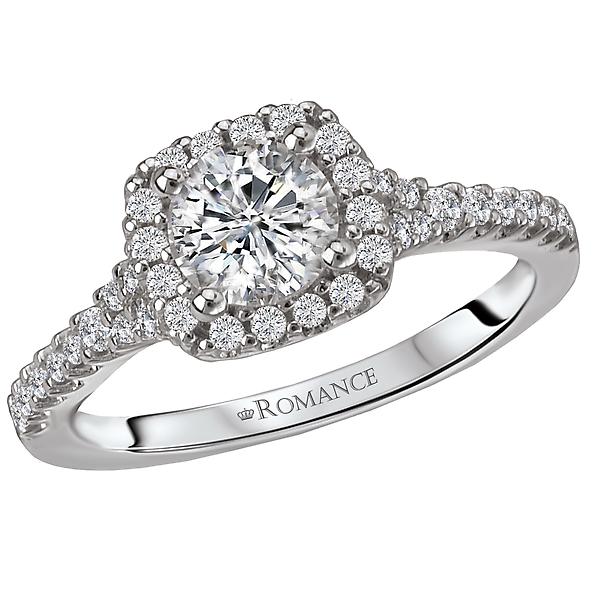 Cushion Shaped Halo Diamond Semi Mount Ring.  Set in 18 kt White Gold.  3/8 carat tdwt.