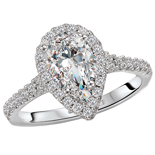 18kt. White Gold Diamond Ring Semi Mount with Pear Shaped Halo.  3/8ths carat total diamond weight.