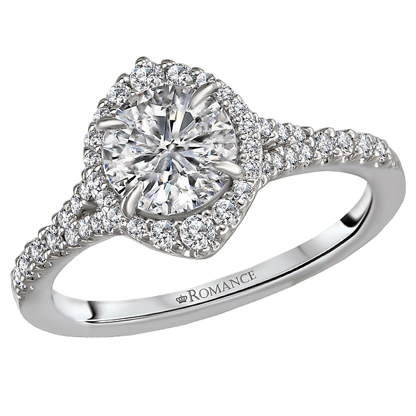 Diamond Semi Mount Halo Ring.  Features Round Faceted Diamonds set in 18kt. White Gold. .25 ct. tdwt.