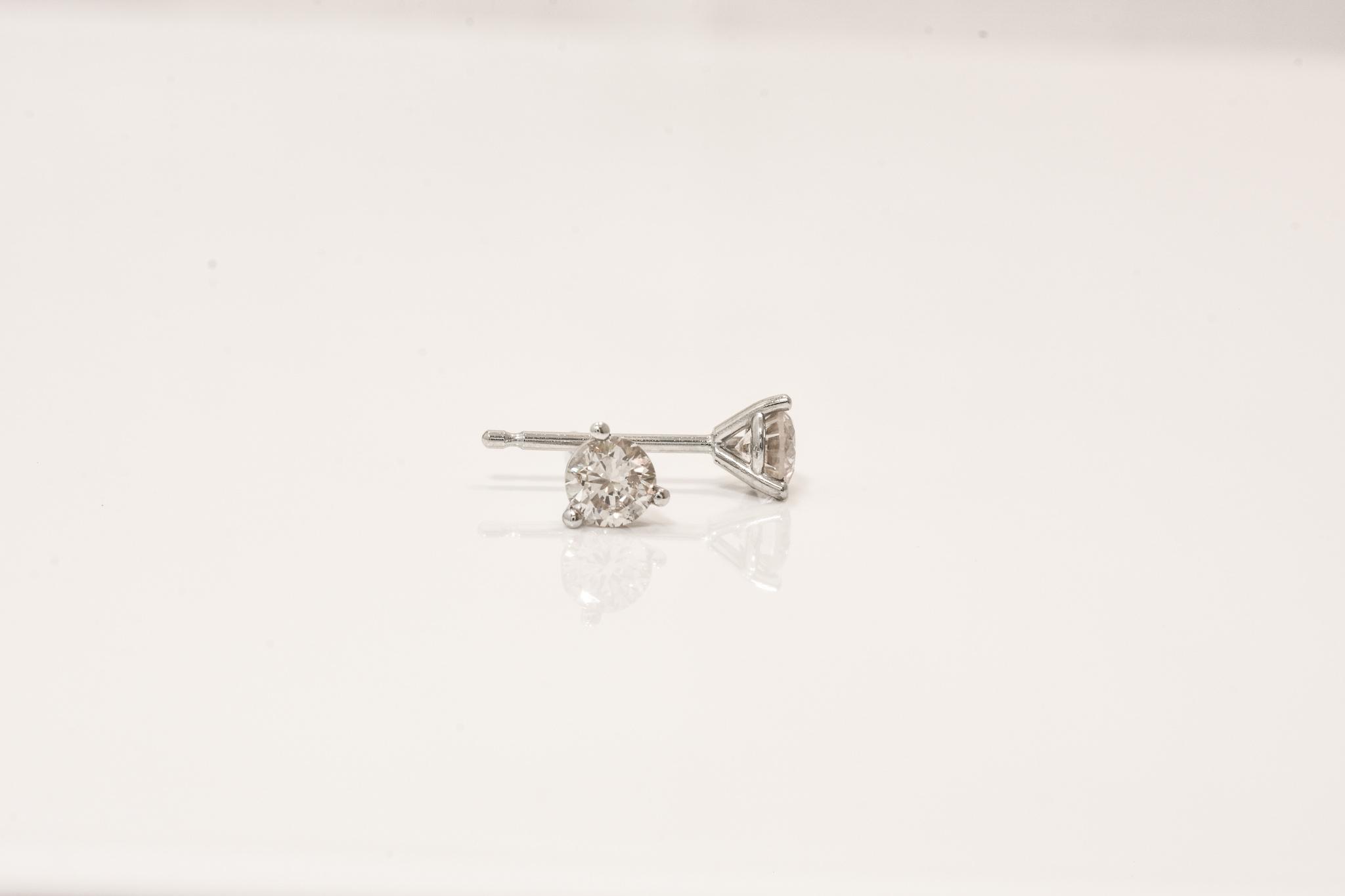14 kt. White Gold Diamond Stud Earrings.  .39 ct. tdwt.