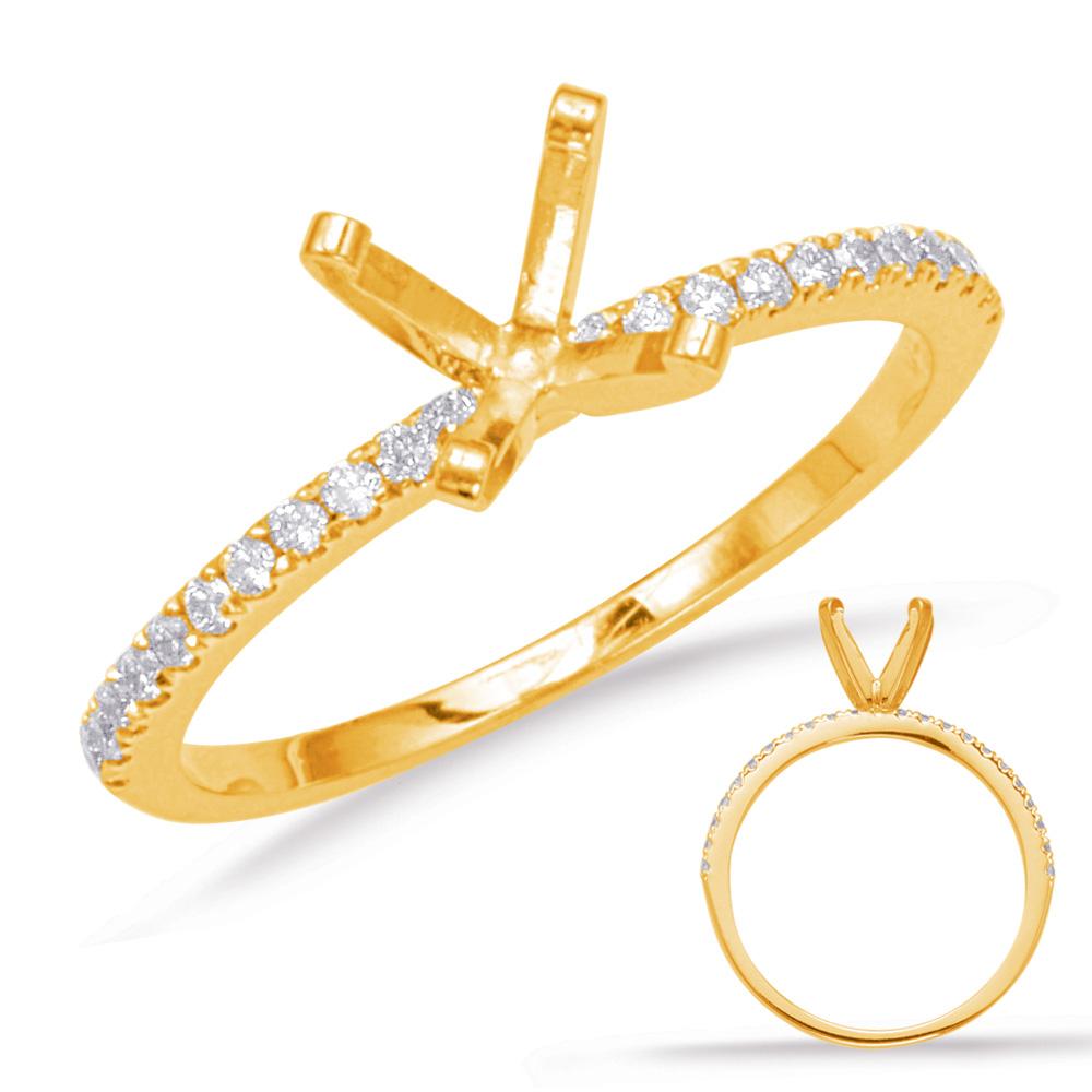 14 kt. YELLOW GOLD DIAMOND SEMI MOUNT ENGAGEMENT RING. 0.16 ctw.