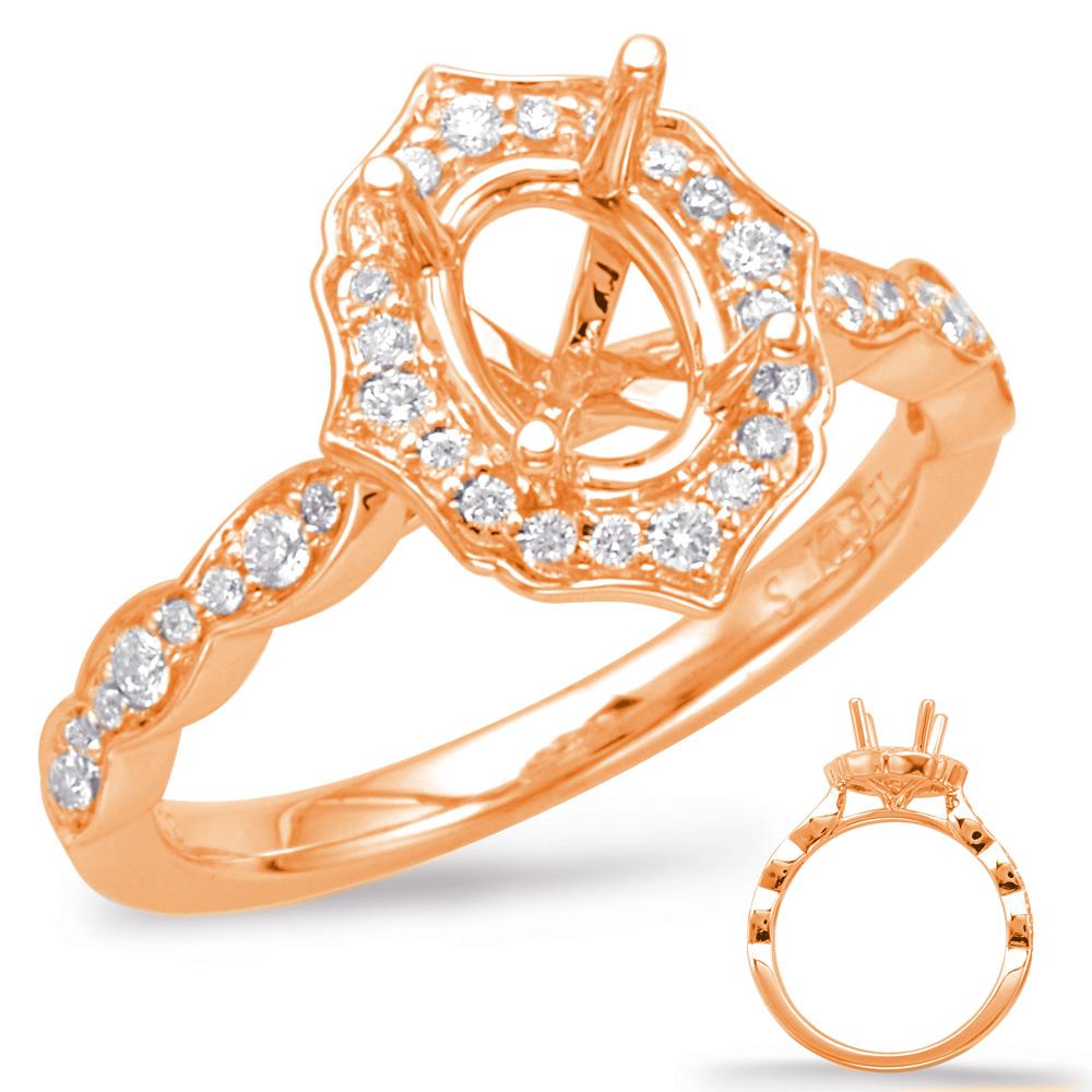 14 kt. ROSE GOLD DIAMOND SEMI MOUNT HALO ENGAGEMENT RING. .36 ct. tdwt