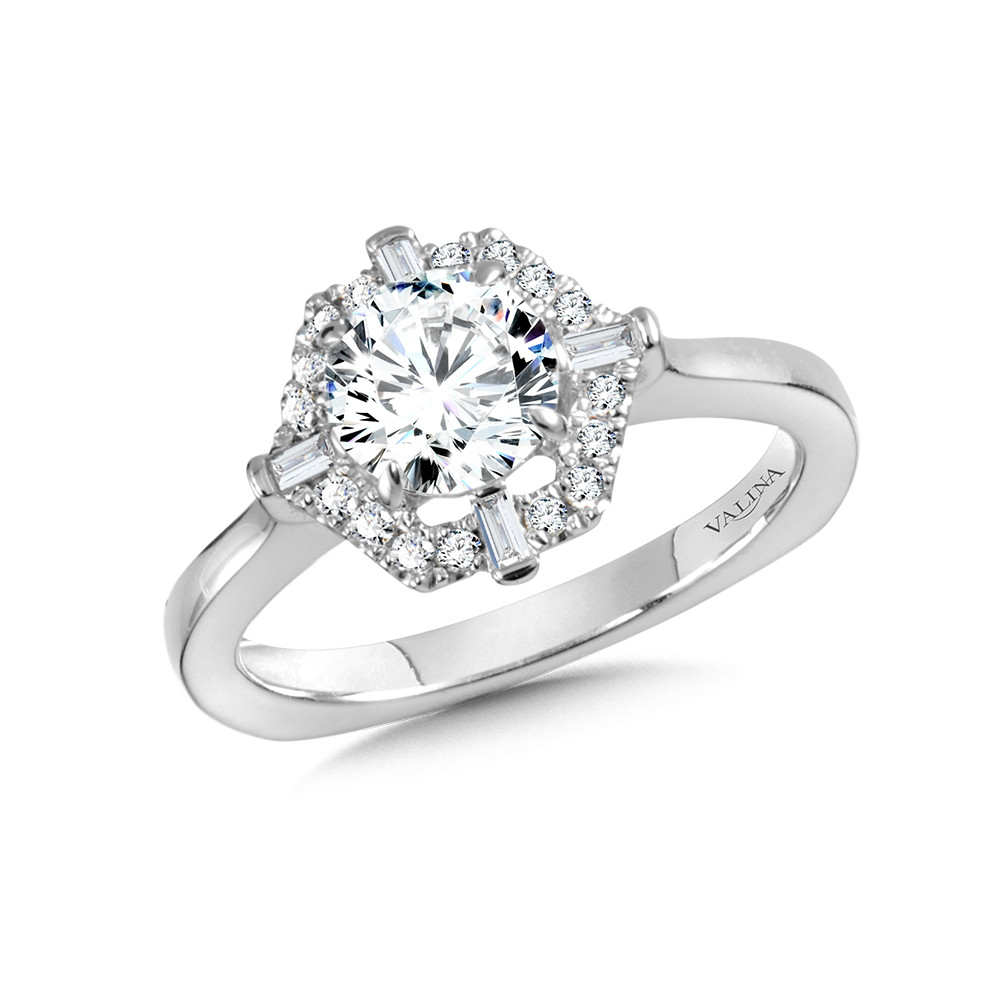 14 kt. WHITE GOLD HEXAGON-SHAPED HALO SEMI MOUNT DIAMOND ENGAGEMENT RING.  .22 ct. tdwt.   R1029W