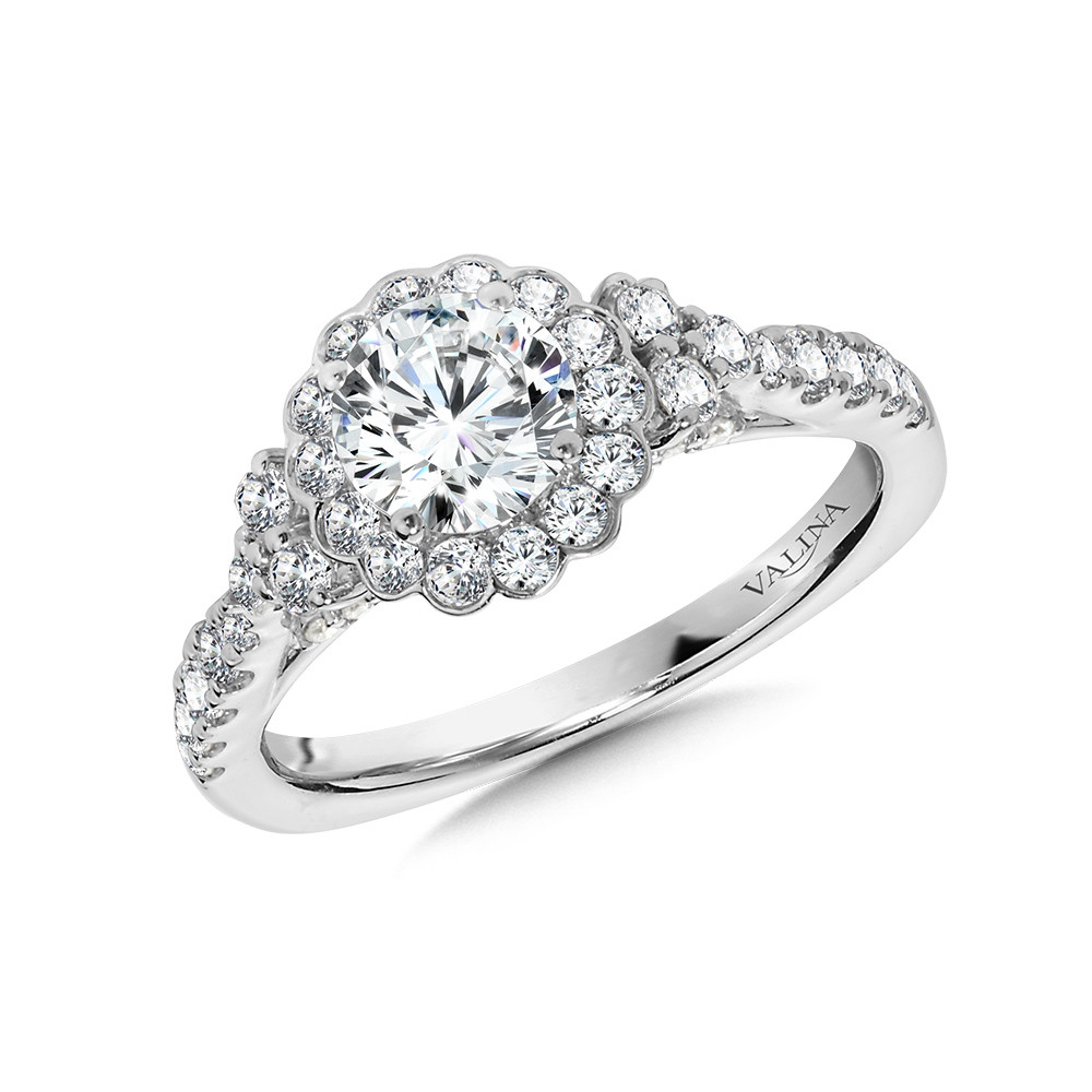 Valina-14 kt. WHITE GOLD FLORAL-HALO DIAMOND SEMI MOUNT ENGAGEMENT RING.  .64 ct. tdwt.   R1032W