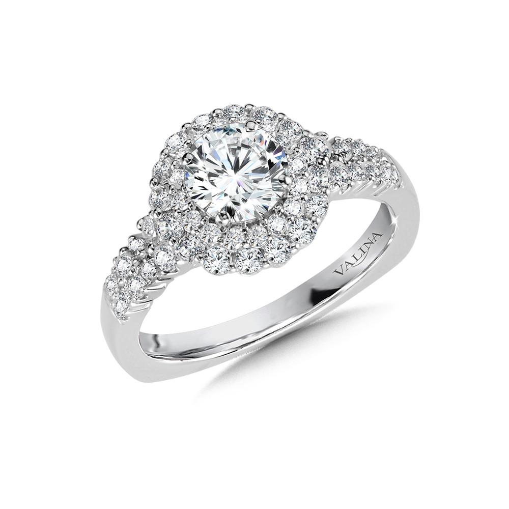 Valina-14 kt. WHITE GOLD DOUBLE HALO DIAMOND SEMI MOUNT ENGAGEMENT RING.  .75 ct. tdwt.  R1034W