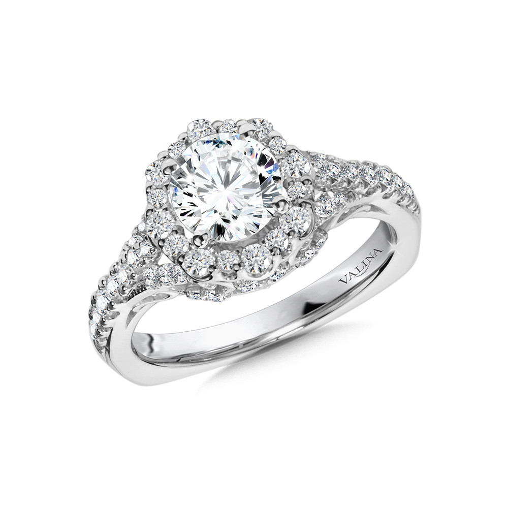 Valina-14 kt. ORNATE HALO DIAMOND SEMI MOUNT ENGAGEMENT RING.  .61 ct. tdwt.