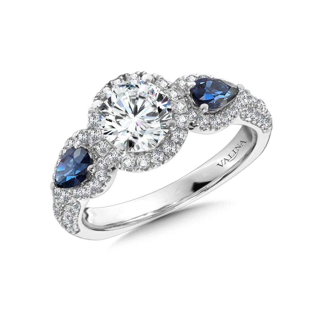 Valina-14 kt. WHITE GOLD DIAMOND AND SAPPHIRE SEMI MOUNT.   HALO ENGAGEMENT RING.  .51 ct. tdwt. R1048W-BSA