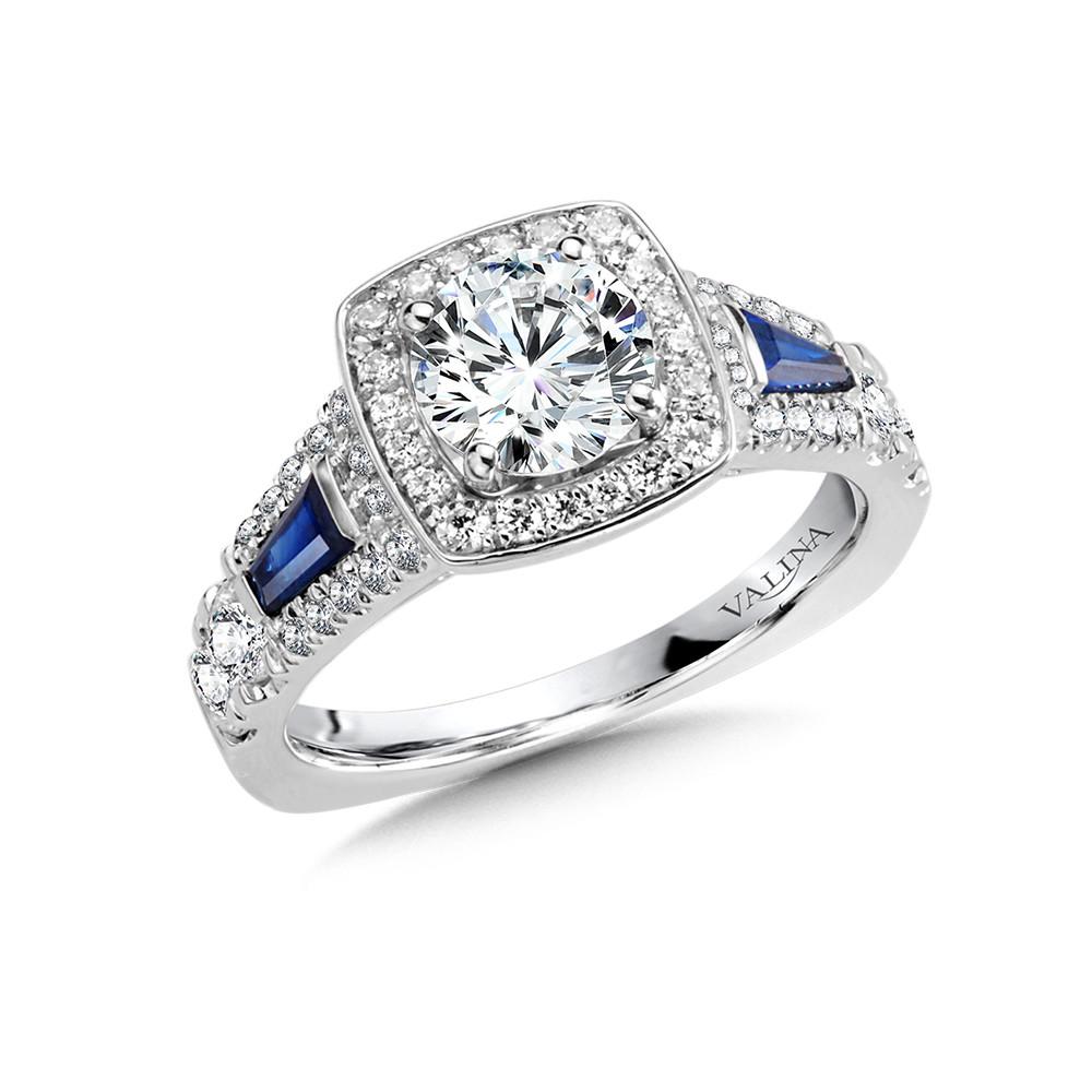 VALINA-14 kt. WHITE GOLD DIAMOND AND SAPPHIRE SEMI MOUNT CUSHION-SHAPED HALO ENGAGEMENT RING .  .77 ct. tdwt.