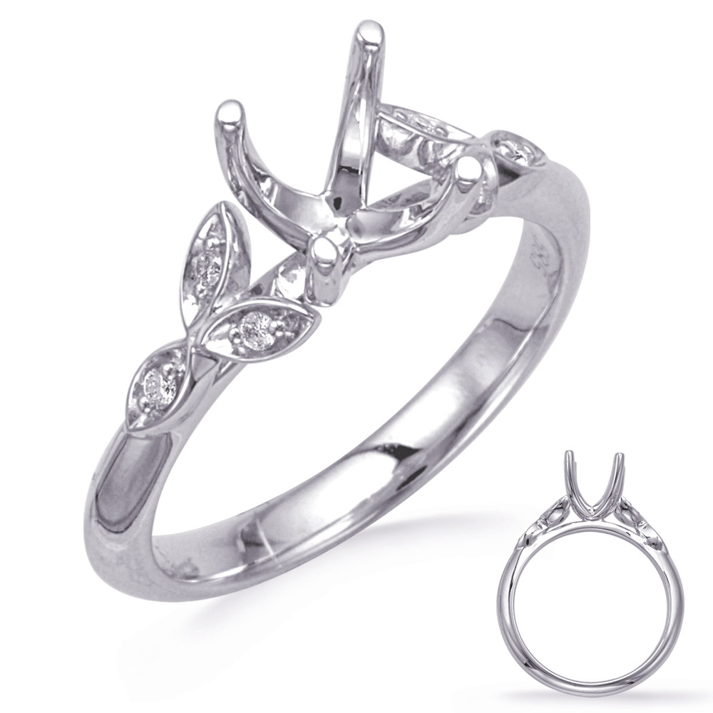 14 kt White Gold and Diamond Semi mount Engagement Ring.