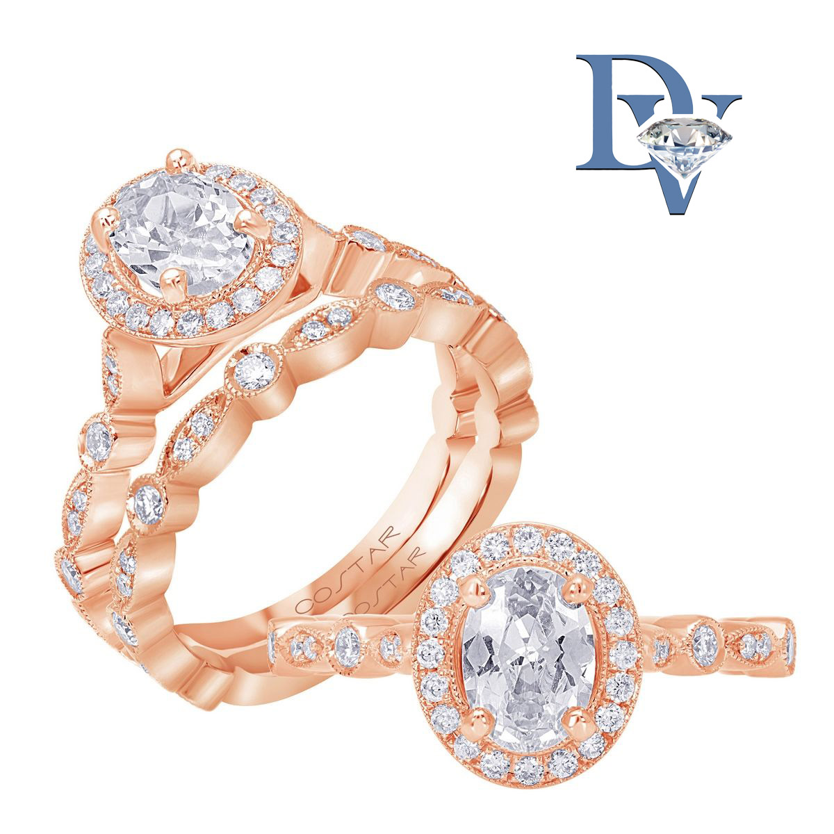 14 kt. Rose Gold Diamond Semi Mount